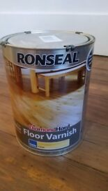 Ronseal diamond hard clear satin floor varnish. 5 liters. Unopened. Bought for £61.99