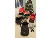 Red VIB pram with pushchair and car seat