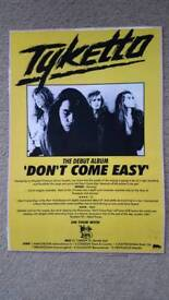 "TYKETTO ""DON'T COME EASY"" LAMINATED PROMO POSTER - MINT CONDITION"