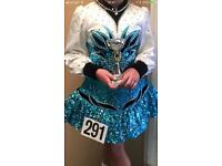 Very bling turquoise white black and silver detail Irish dance dress