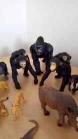 Toy animal figures elephants chimps lions snake