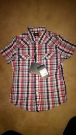 Ben Sherman red, white & blue checked shirt for age 3/4.