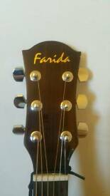 FARIDA ACOUSTIC GUITAR d-10n AND CASE LIKE NEW