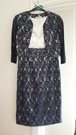 Shubbette navy/ivory lace dress and jacket