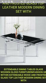Extendible glass dinning table black colour