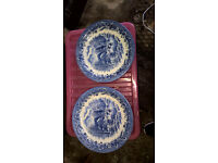 free if collected on Sat 21/1/17 - Chruchill dinner plates - pair blue and white