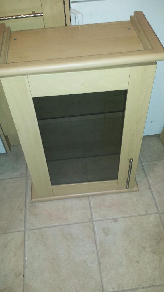 500mm magnet beech kitchen wall unit glass door and for Beech effect kitchen units