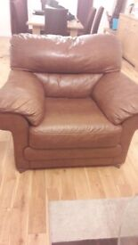 Italian Leather Sofa and Large Chair