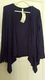 women Brand New with tag navy blue 100% cotton stretch jersey cardigan size 10
