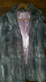 Next Grey Faux Fur Coat age 9 - 10