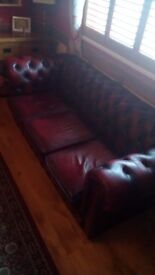 Leather Chesterfield 3 Piece Suite & Foot Stool