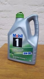 Mobil 1 5W 30, ESP Formula fully synthetic motor oil. Opened but 3l unused.