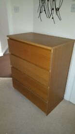 IKEA Oak Finish 4 Drawer MALM Unit in Excellent Condition
