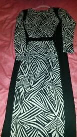 River Island body con wool mix print dress size 10