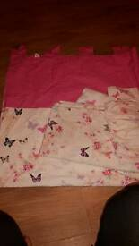 Girls pink and white butterflies bedroom set