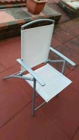 Outdoor garden patio folding chairs x 4 white and silver