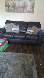 Brown leather 3 seater sofa and 2 chairs