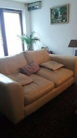 leather dark cream 3 seater sofa - In good condition and very comfortable