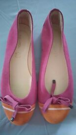 MIGATO LADIES LEATHER PINK/ORANGE FLAT PUMPS WORN ONCE SIZE 40 (UK 7-8) MADE IN GREECE