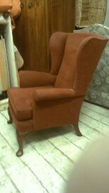 Red wingback fireside Armchair