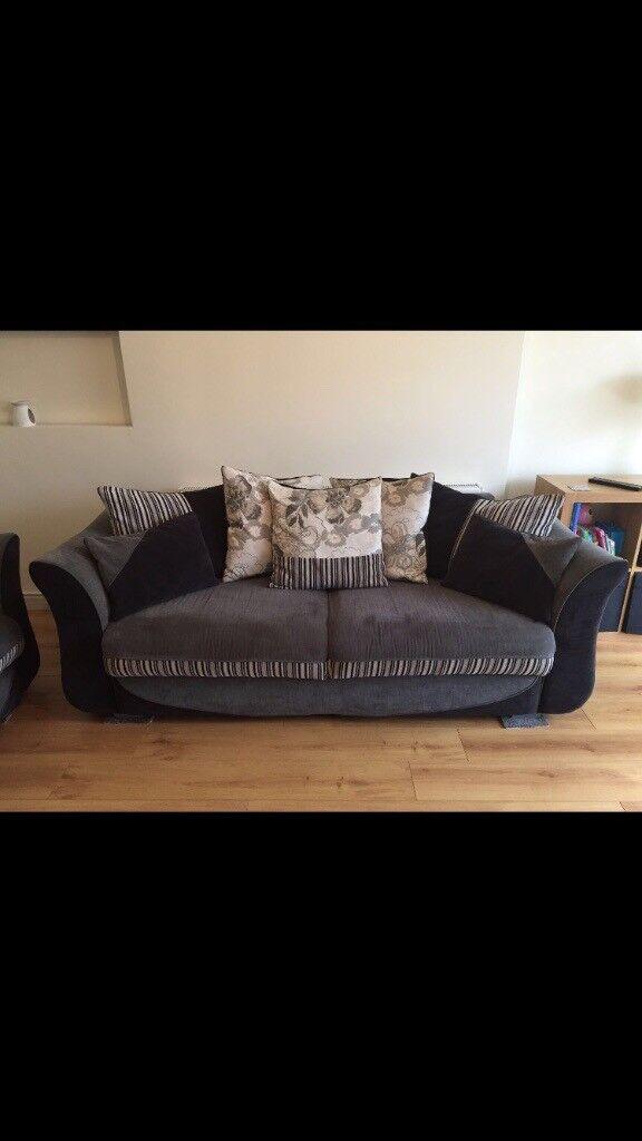 Black & Grey 3 seater sofa & large armchair (2 seater)