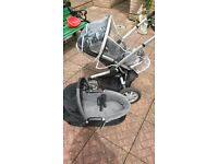 quinny buzz stroller / pram with seat, moses basket (rain cover & car seat connectors incl) £40