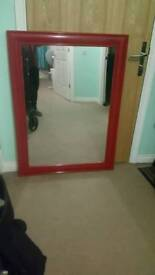 Large red mirror approx 4ft x 3ft