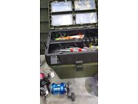 Sea fishing 2 rods 2 reels box stand
