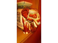 Large and heavy antique hand painted elephant