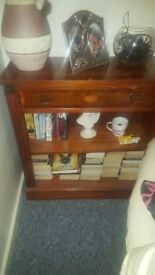 Large wooden light up cabinet and bookcase