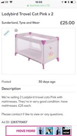 Ladybird travel cot pink x 2