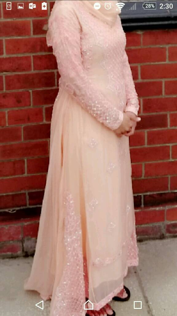 Peach chiffon maxi dress, with silver beadwork
