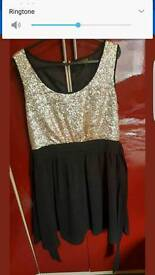 LUXE SEQUIN GOLD AND BLACK DRESS DOROTHY PERKINS