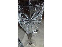 4 Heavy cut glass wine glasses