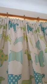 Kid's bedroom pair of curtains - cute dog pattern, blackout lined