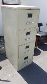 Vintage Steel Office 4 Drawer Filing Cabinet