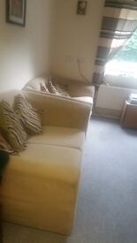 Free to collect,,,2 x 2 seater cream cloth settee's, Free to collect.