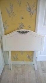 Shabby chic single bed head board refurbished painted in white with grey flower detail