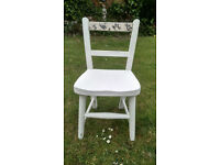 Child's chair in shabby chic chalk white, decopage back