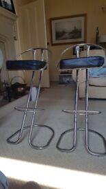 Chrome & Black Leather Kitchen Bar Stools x 2