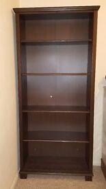 Large hardwood bookcase/shelving unit