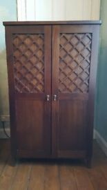 Tall wooden cabinet, in teak colour, ideal home office or general storage
