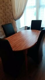 Sliding table and 4 chairs leatherette