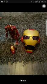 Iron man rc robot and helmet with led lights and sounds