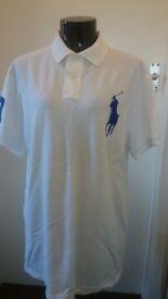 BNWT Mens White & Blue Ralph Lauren Big Pony Polo Shirt size L RRP £109.00