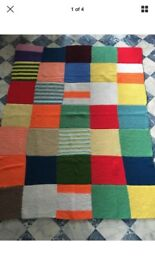 Hand knitted wool blanket Christmas charity