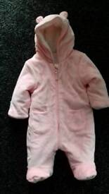 Pink baby outdoor suit - size 0-3 months
