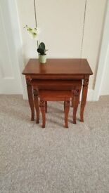 Nest of 3 solid wood tables in very good condition