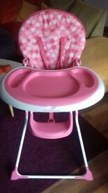 Mothercare pink highchair