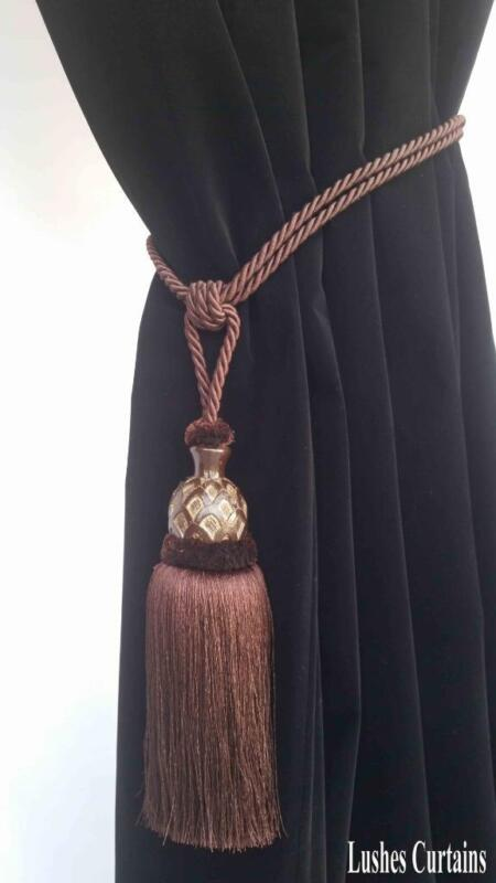 Brown Window Treatment Curtain Drapery Wood/Tassel Doubel Cord Tie Back Holdback